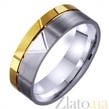 Мужское обручальное кольцо Романтический этюд из комбинированного золота с алмазной гранью TRF--4411467