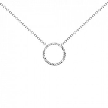 Срібне кольє Магічне кільце з фіанітами 000064259