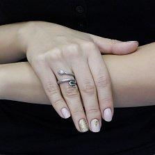 Серебряное кольцо Анубис с шинкой в виде змеи и зеленым цирконием