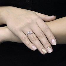 Золотое кольцо Турен в белом цвете с бриллиантом