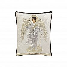 Православная икона Ангел Хранитель на основе под дерево, гальванопластика, 8х9см