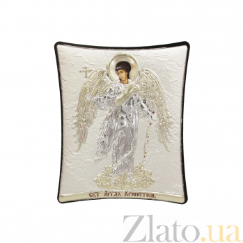 Православная икона Ангел Хранитель на основе под дерево, гальванопластика, 8х9см 000094175