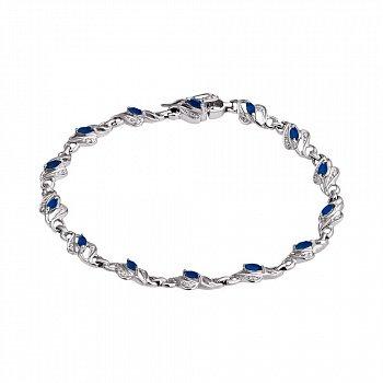 Серебряный браслет с бриллиантами и сапфирами 000019076