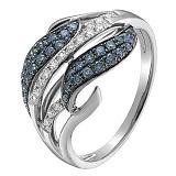 Кольцо в белом золоте Виргиния с сапфиром и бриллиантами