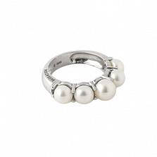 Серебряное кольцо Ангелина с дорожкой белого жемчуга
