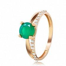 Золотое кольцо Бонита с зеленым агатом (ониксом) и фианитами