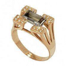 Золотой перстень Стоунхендж с раухтопазом и фианитами