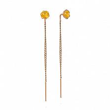 Золотые серьги Лучик с желтым цирконием