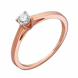 Кольцо из красного золота Изыск с бриллиантом