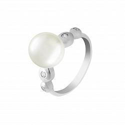 Серебряное кольцо Камилла с белым жемчугом и фианитами