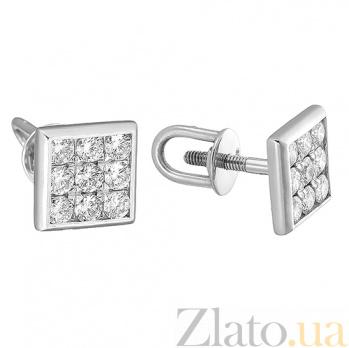 Золотые серьги-пуссеты с бриллиантами Тиволи E 0772/бел