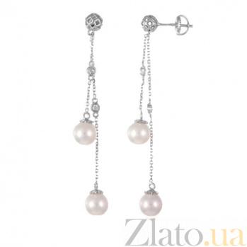 Серебряные серьги с жемчугом и фианитами Аселайн SLX--С2ФЖ/829