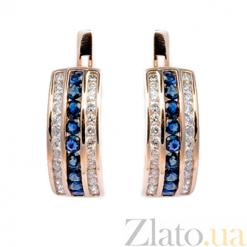 Золотые серьги с бриллиантами и сапфирами Биркан 000021789