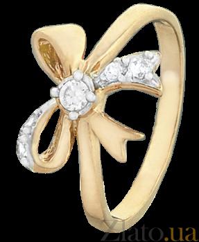 Серебряное кольцо с позолотой и цирконием Милый бантик 000025665