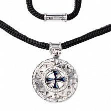 Серебрянное колье Звезда Эрцгаммы на шнурке, ø 2,5см