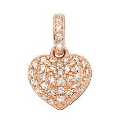 Кулон-сердце из красного золота с фианитами 000000364