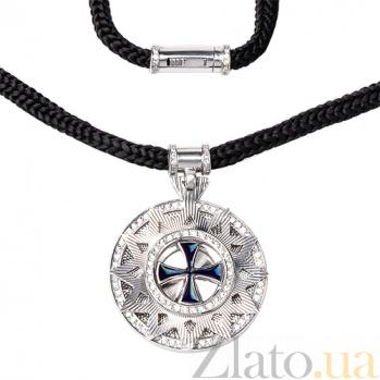 Серебрянное колье Звезда Эрцгаммы на шнурке, ø 2,5см HUF--10424-БР