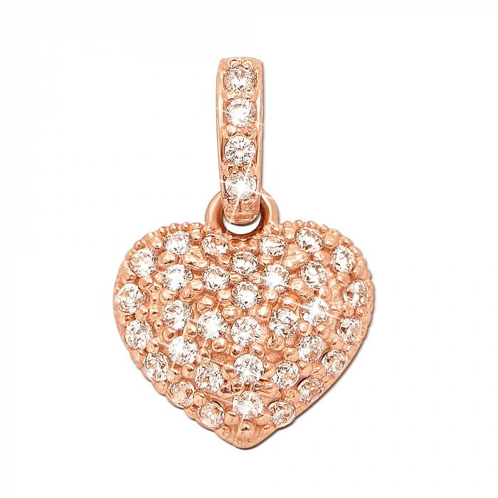 Золотой кулон Сердце Сирены в красном цвете с усыпкой из фианитов 3831
