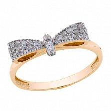 Серебряное кольцо Бантик в позолоте с цирконами
