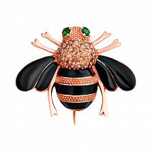 Серебряная позолоченная брошка Пчёлка с цирконием и эмалью