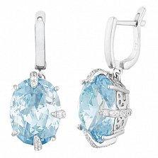Серебряные серьги-подвески с голубыми фианитами Ильдана