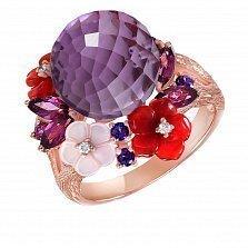 Золотое кольцо с аметистом, родолитами, топазами, агатом и бриллиантами Чудо природы