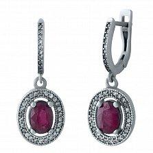 Серебряные серьги-подвески Небраска с рубинами, фианитами и дорожками