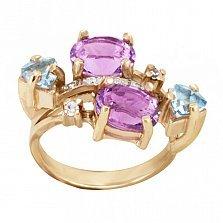 Золотое кольцо Джули с синтезированными аметистами, голубыми топазами и фианитами