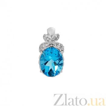 Серебряный кулон с голубым кварцем Свежесть 000029187
