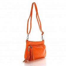 Кожаный клатч Genuine Leather 1675 оранжевого цвета с накладным карманом и плечевым ремнем