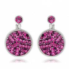 Серебряные серьги Фуксия с кристаллами Сваровски