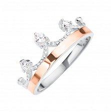 Серебряное кольцо Королева с накладкой из золота с фианитами