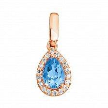 Золотой кулон Инесса с голубым топазом и цирконием