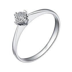 Золотое помолвочное кольцо в белом цвете с насечкой вокруг бриллианта 0,07ct 000070598