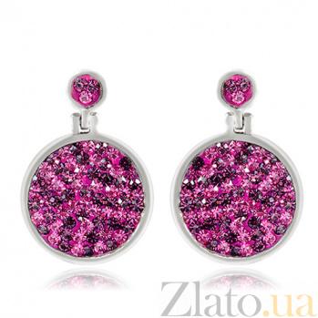 Серебряные серьги Фуксия с кристаллами Сваровски 10030114