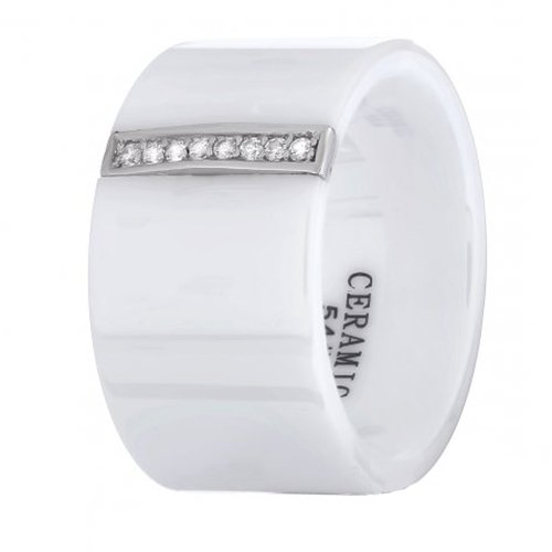 Керамическое  кольцо Айзере с серебром и цирконием