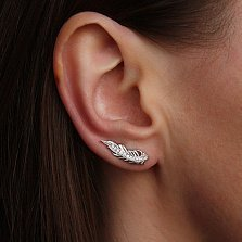 Серебряные серьги-каффы Пёрышки с бриллиантами