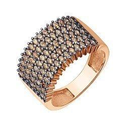 Кольцо из красного золота с коньячными фианитами 000139997