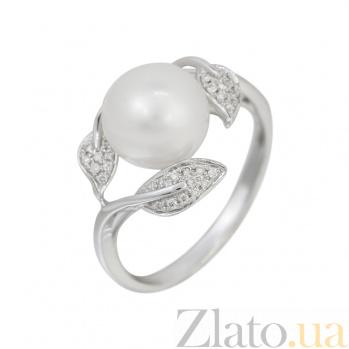 Кольцо из белого золота с жемчугом и бриллиантами Балтийское море 000032311