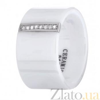 Керамическое  кольцо Айзере с серебром и цирконием 000030965