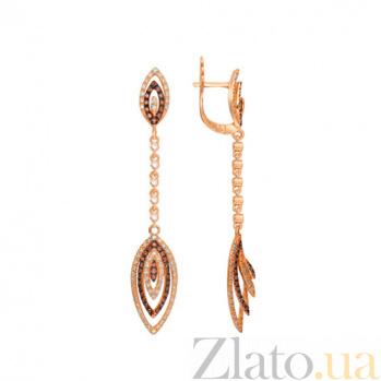 Серьги-подвески из красного золота Карина VLT--ТТТ2330-2