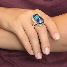 Серебряное кольцо Глубины космоса с имитацией опала