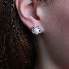 Серебряные серьги-пуссеты Прованс с белым жемчугом и белыми фианитами