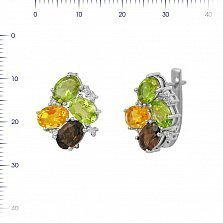 Серебряные серьги Ивонна с раухтопазом, хризолитом, цитрином, корундом и фианитами