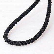 Шелковый черный шнурок Сильверс с гладкой золотой застежкой, 3мм