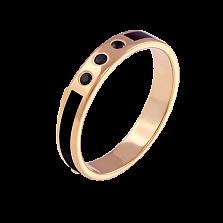 Обручальное кольцо из желтого золота Беверли с черной эмалью и бриллиантами