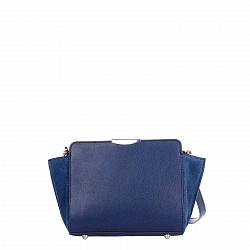 Кожаный клатч Genuine Leather 1686 темно-синего цвета с застежкой-молнией и плечевым ремнем