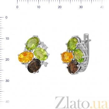 Серебряные серьги Ивонна с раухтопазом, хризолитом, цитрином, корундом и фианитами 000081889
