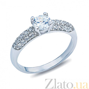 Кольцо на помолвку серебряное с цирконами Илиана AQA--TR-3039