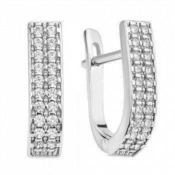Серебряные серьги с цирконием 000106909